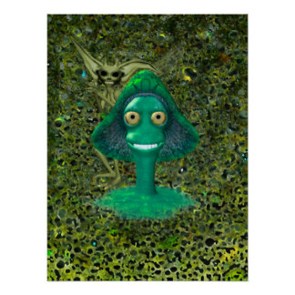 Creepy Grinning Mushroom and Pixie Poster