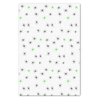 Creepy Halloween Black Green Spider Tissue Paper