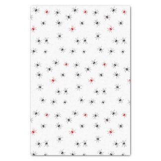 Creepy Halloween Black Red Spider Tissue Paper