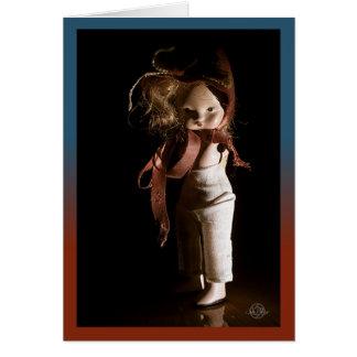 Creepy Halloween doll and universal greeting. Card