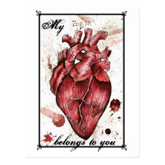 Creepy Heart Love Card Edgar Allan Poe quote