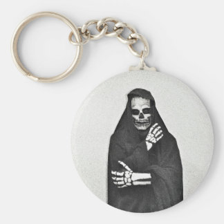 Creepy Hooded Figure Basic Round Button Keychain