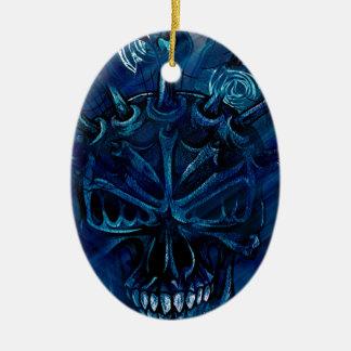 Creepy Horror Skull Ceramic Oval Ornament