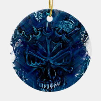 Creepy Horror Skull Round Ceramic Ornament