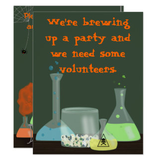 Creepy Laboratory Halloween Invitation, two sides Card