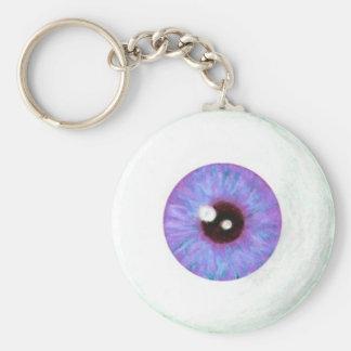 Creepy Lavendar Azure Eyeball Keychain