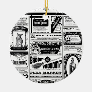 creepy newspaper ceramic ornament
