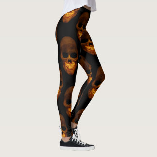 Creepy Orange Human Skulls Design Leggings