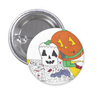 Creepy Pumpkin Carving 1 Inch Round Button