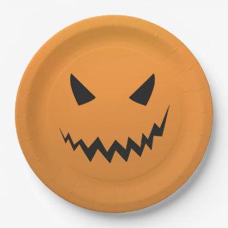 Creepy Pumpkin Halloween Party Paper Plates