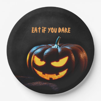 Creepy Pumpkin Happy Halloween Paper Plate