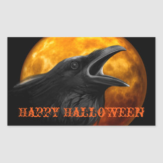 Creepy Raven and Halloween Moon Sticker
