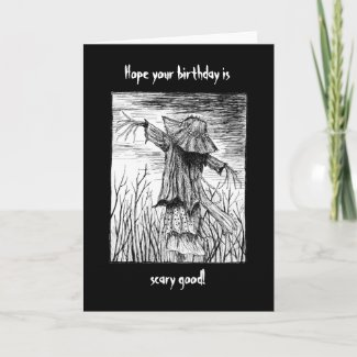 Creepy Scary Goth Horror Scarecrow Birthday Card
