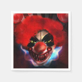 Creepy Scary Killer Clown Halloween Party Napkin