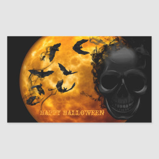 Creepy Skull, Bloody Bats and Halloween Moon Sticker
