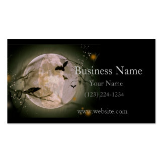 Creepy Skull in Full Moon with Flying Birds & Tree Double-Sided Standard Business Cards (Pack Of 100)