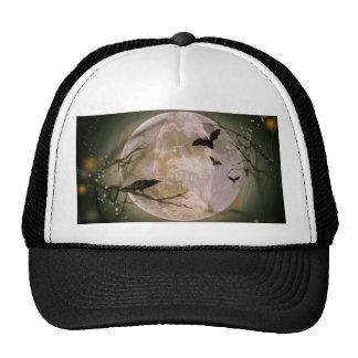 Creepy Skull in Full Moon with Flying Birds & Tree Trucker Hat