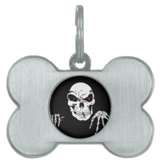 Creepy Skull Pet Name Tag