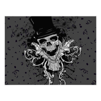 Creepy Skull With Top Hat Poster