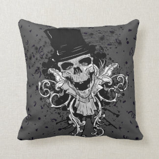 Creepy Skull With Top Hat Throw Pillow