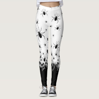 Creepy spider black white goth punk rock leggings
