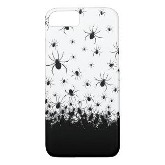 Creepy spider infested black white phone case