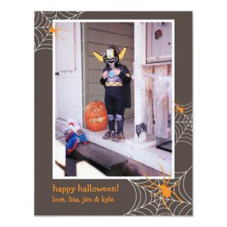 "Creepy spider web frame custom photo Halloween 4.25"" X 5.5"" Invitation Card"