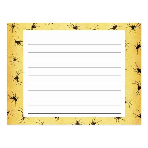 Creepy Spiders Halloween Recipe Card Post Cards