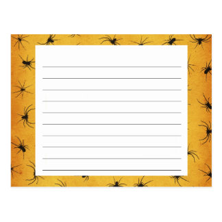 Creepy Spiders Halloween Recipe Card Postcard