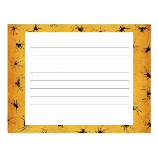Creepy Spiders Halloween Recipe Card Post Card