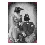 "Creepy Victorian Raven Family Halloween Party 5"" X 7"" Invitation Card"