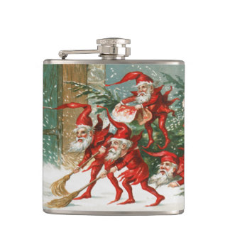 Creepy Vintage Elf Christmas VINYL FLASK
