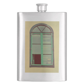 Creepy window hip flask
