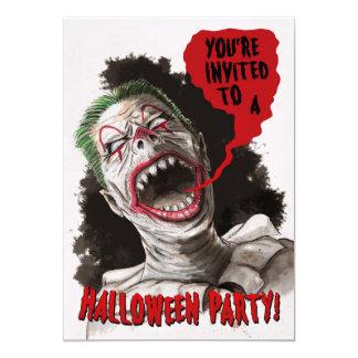 Creepy Zombie Clown Two-Sided Halloween Invitation