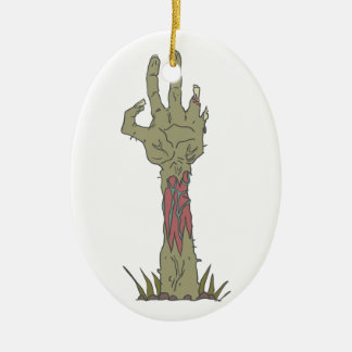 Creepy Zombie Haind Rising Ceramic Ornament