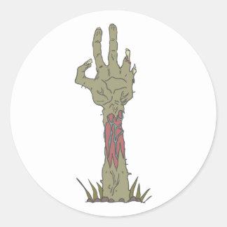 Creepy Zombie Haind Rising Classic Round Sticker