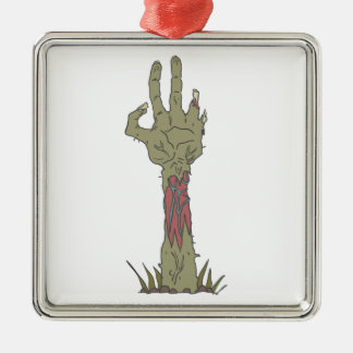 Creepy Zombie Haind Rising Metal Ornament