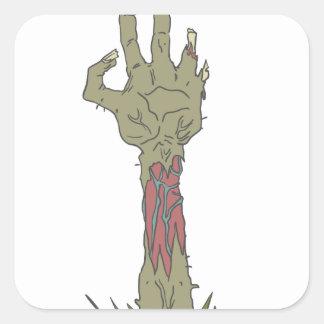 Creepy Zombie Haind Rising Square Sticker