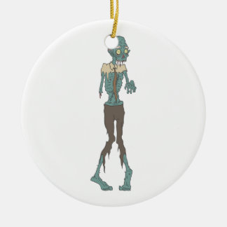 Creepy Zombie Wearing Tie With Rotting Flesh Outli Ceramic Ornament