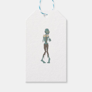 Creepy Zombie Wearing Tie With Rotting Flesh Outli Gift Tags