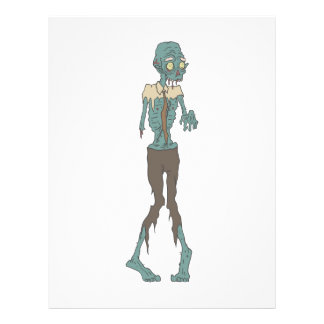Creepy Zombie Wearing Tie With Rotting Flesh Outli Letterhead