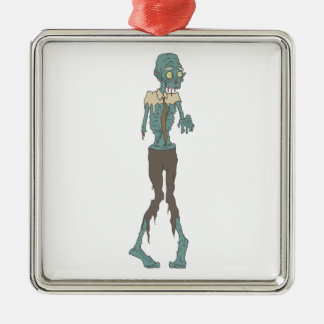 Creepy Zombie Wearing Tie With Rotting Flesh Outli Metal Ornament
