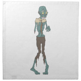 Creepy Zombie Wearing Tie With Rotting Flesh Outli Napkin