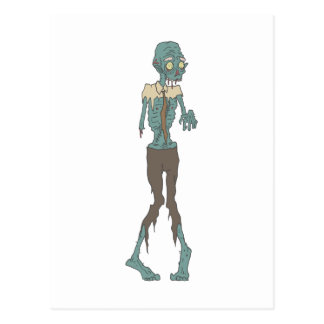 Creepy Zombie Wearing Tie With Rotting Flesh Outli Postcard