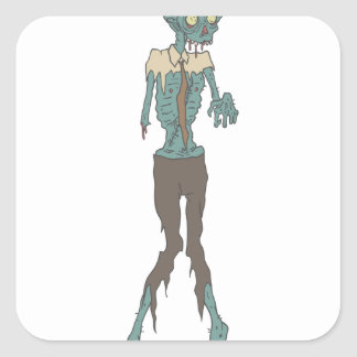 Creepy Zombie Wearing Tie With Rotting Flesh Outli Square Sticker
