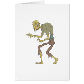 Creepy Zombie With Melting Skin With Rotting Flesh Card