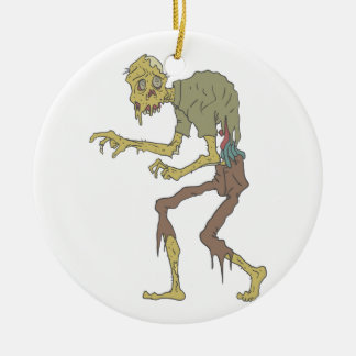 Creepy Zombie With Melting Skin With Rotting Flesh Ceramic Ornament