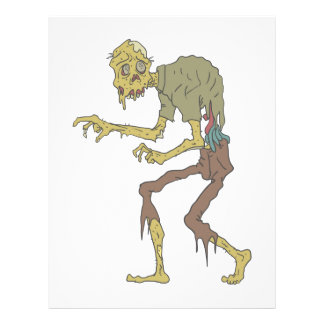 Creepy Zombie With Melting Skin With Rotting Flesh Letterhead
