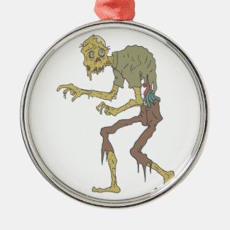 Creepy Zombie With Melting Skin With Rotting Flesh Metal Ornament