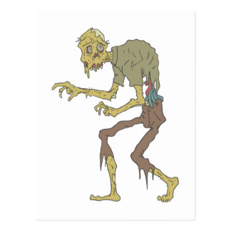 Creepy Zombie With Melting Skin With Rotting Flesh Postcard